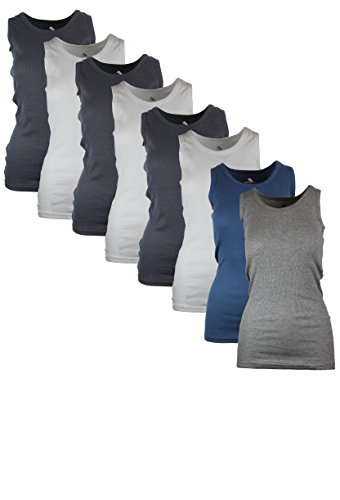 Womens Tank Tops, Basic Cotton Camisole Ribbed Racerback Tank Top Assorted Colors