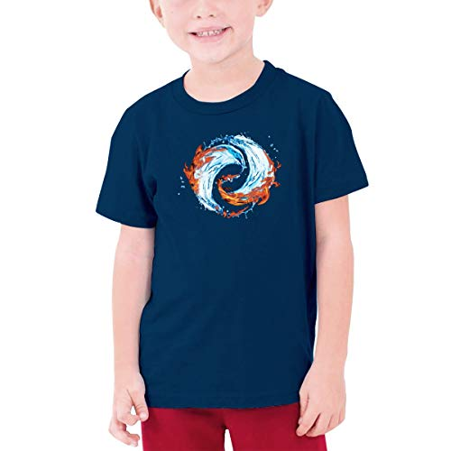 MDClothI Youth Boys&Grils Fashion Teenage T-Shirt Printed with Tai Chi DOPHIN LIT Water S Navy