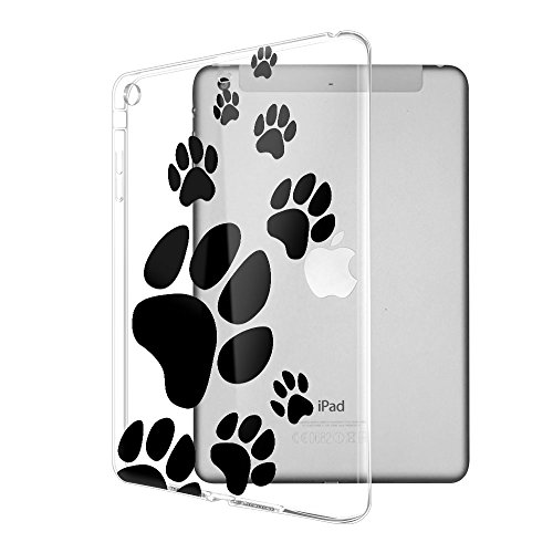 FINCIBO Case Compatible with Apple iPad Mini/Mini 2/ Mini 3, Super Slim Scratch-Resistant Shock Absorbing Transparent TPU Cover Case for iPad Mini/Mini 2/ Mini 3 Tablet, Dog Paw ()