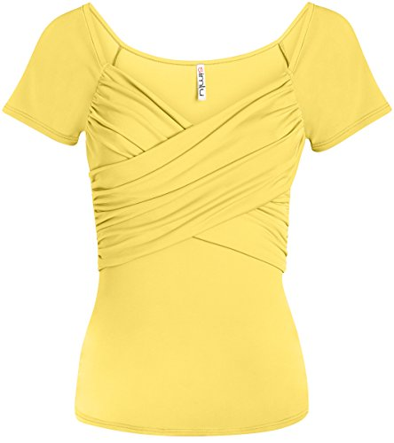 Womens Deep V Neck Front Wrap Top Short Sleeve Slim Fit Shirt - Made in USA (Size X-Large, Yellow) ()