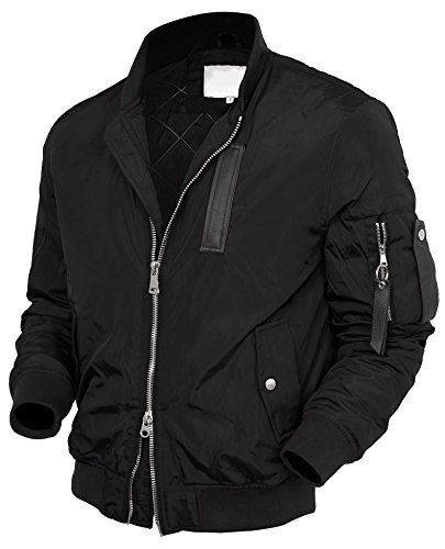 VW Mens Bomber Jacket Active MA-1 Slim Fit Lightweight Windbreaker 6016 (X-Large, 2012 Black) by Hat and Beyond