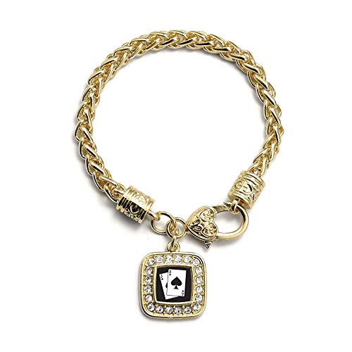 Inspired Silver - Blackjack Braided Bracelet for Women - Gold Square Charm Bracelet with Cubic Zirconia Jewelry
