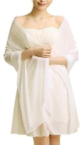 VIPbridal Womens Soft Wrap bufanda chal de gasa noche nupcial Marfil