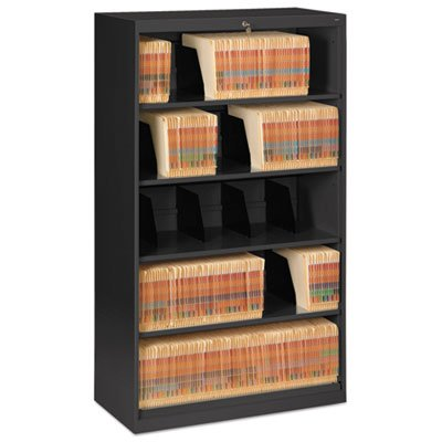Open Fixed Shelf Lateral File, 36w x 16 1/2d x 63 1/2, Black, Sold as 1 Each