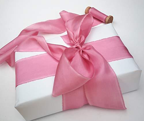 (Rouge Pink Silk Ribbon, Hand-dyed silk ribbon)