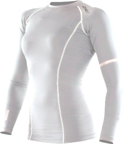 2XU Tee-shirt Manches Longues Compression Femme, Blanc, L