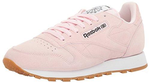 Pastel Pink Shoes - Reebok Men's Classic Lthr Pastels Fashion Sneaker, Porcelain Pink/Classic White/Coal-Gum, 8.5 M US
