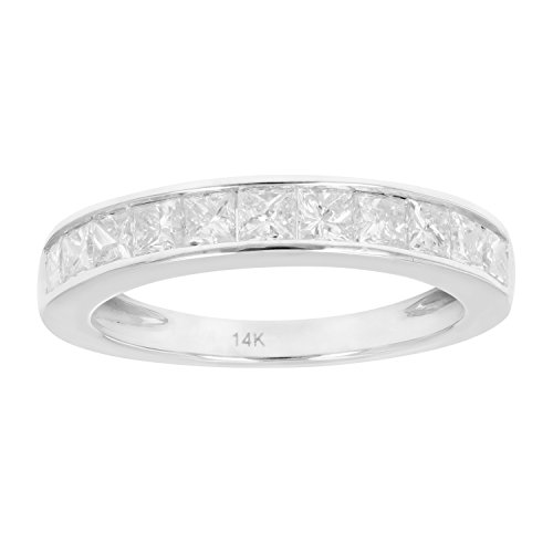 - 1 CT Princess Diamond Wedding Band in 14K White Gold Size 7