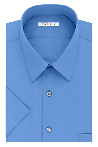 Van Heusen Men's Dress Shirts Short Sleeve Poplin Solid, Pacifico, 17