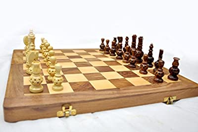 "KIMARO Wooden Chess Set - 16 x 16 "" Folding Standard Elegant Chess Board Game Handmade in Fine Rosewood with Storage for Chessmen Heavy Set"