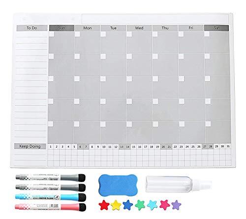 Magnetic Fridge Calendar Dry Erase, 2018 White Board Calendar Planner for Kitchen Refrigerator, 17'' x 12'' Large Monthly Erasable Whiteboard Calendar Set by F.G.Y