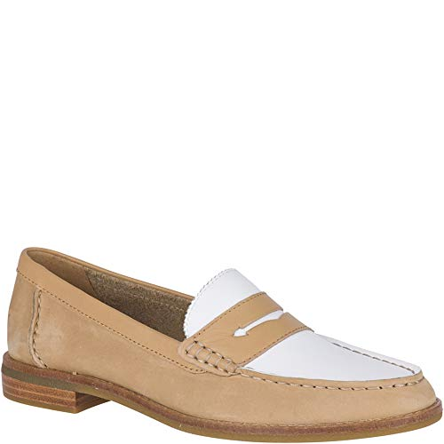SPERRY Women's Seaport Penny Tri Tone Loafer, Tan/White, 9