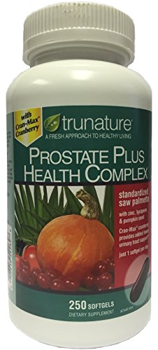TruNature Prostate Plus Health Complex – Saw Palmetto with Zinc, Lycopene, Pumpkin Seed, Cranberry – 250 Softgels 1 Bottle