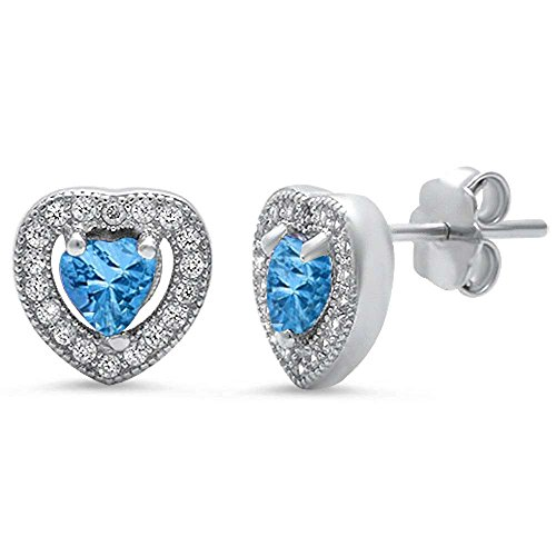 Simulated Gemstone & Pave Cubic Zirconia Heart .925 Sterling Silver Earrings! Birthstone colors Available! (Simulated Aquamarine) -