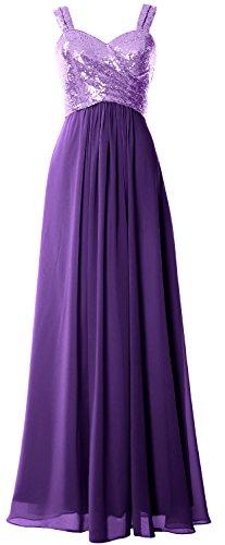 Macloth Femmes Bretelles Sequin À Long Capot Robe De Demoiselle D'honneur Dos Lavande Pourpre Robe Formelle Mariage