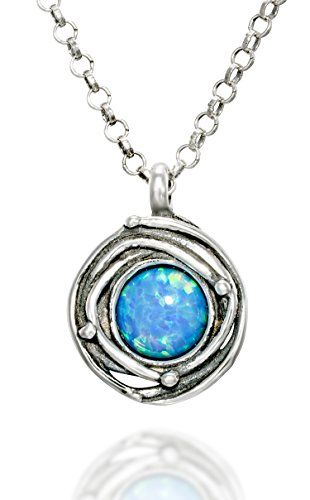 Vintage Style Round Created Blue Fire Opal Pendant with Swirl or Birds Nest Design, 18
