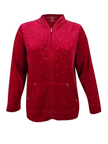 (Karen Scott Plus Size Embellished Velour Hoodie (1X,Prussian Red))