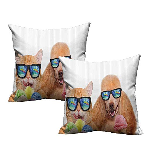 LilyDecorH Spring Pillow Covers,Animal,Cat Dog Pet with Sunglasses Eating Ice Cream Retro Cool Vintage Pop Artwork Image,Multicolor 16