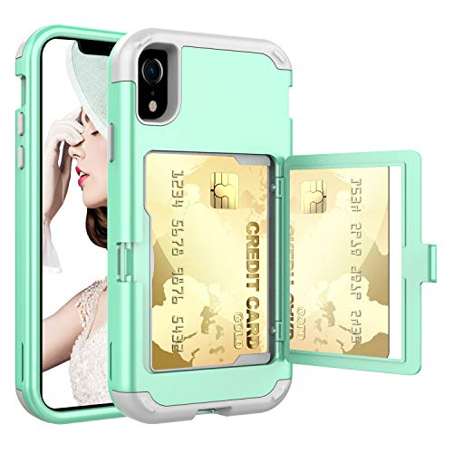 iPhone XR Case,XR Wallet Credit Card Holder Case,ACXLIFE Shockproof Heavy-Duty Protective Hybrid Cover with Card Slot Holder and Mirror & Kickstand Case for iPhone XR 6.1 Inch (Green)