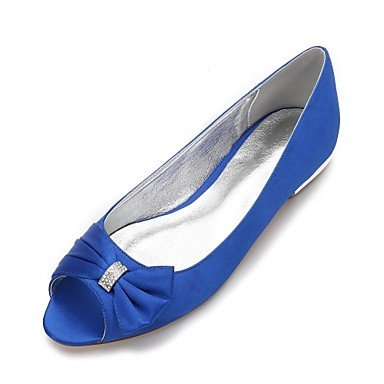 Ruby Blue US6 Satin 5 Summer Wedding Shoes Flat Dress CN37 amp;Amp; UK4 Party Wedding Comfort 5 7 Heelivory 5 EU37 Spring Champagne Evening Women'S Rhinestone Bowknot qUTwa
