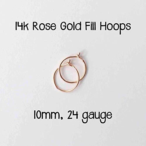 Small 14k Rose Gold Fill Hoop Earrings. 10mm, 24 gauge Handmade