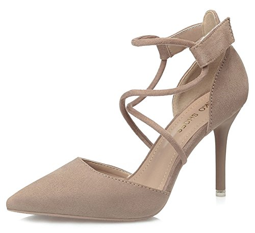 Aisun Women's Sexy Faux Suede Pointed Toe Cross Strap Hook and Loop Stiletto High Heel Sandals Khaki
