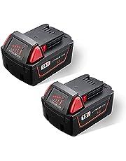 JYJZPB 5,5Ah Accu voor Milwaukee M18 Li-Ion Batterij 18V Vervangende M18B, 48-11-1850, 48-11-1852, 48-11-1820, 48-11-1860, 48-11-1828, 48-11-10, 2 Stuks met Led-Indicator