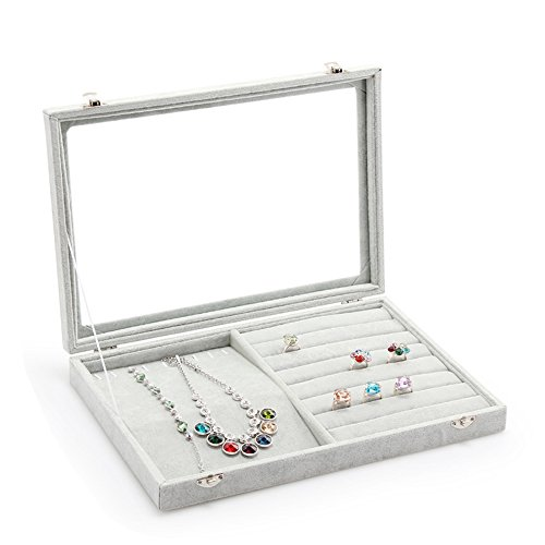 Wuligirl Glass Top Velvet Necklace Ring Jewelry Display Storage Organizer Showcase Earring Rings Lockable(Mix Jewelry) by Wuligirl (Image #2)