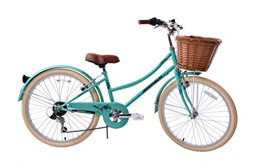 "Ammaco Tiffany 24"" Wheel Heritage Dutch Style Girls Bike & Wicker Basket Green Age 8+"