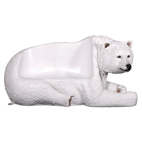 Design Toscano Brawny Polar Bear Bench Sculpture, White