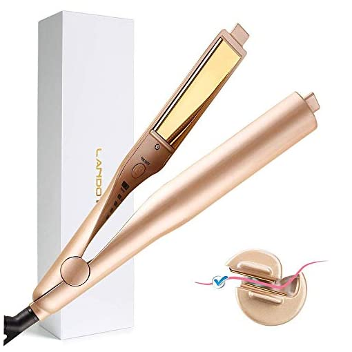LANDOT Flat Iron for Hair Curling Irons Hair Straightener Twist 2-in-1 Hair Curlers & Straightening Iron Hair Styling Tools Dual Voltages with 3D Concave and Convex Titanium-Plated 1 Inch Color Gold - 41vyfql0D3L - LANDOT Flat Iron for Hair Curling Irons Hair Straightener Twist 2 in 1 Hair Curlers Straightening Iron Dual Voltages Hair Styling Tools with 3D Concave and Convex Titanium Plated 1 Inch Color Gold
