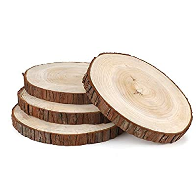 Large Natural Wood Slices Discs,Unfinshed Round Wood Circles,9'' to 9.5'',4 Pack,Rustic Wood Pieces with Tree Bark for Wedding Centerpiece,DIY Projects,Table Chargers,Home Decoration