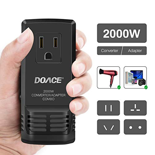 DOACE C8 2000W Travel Voltage Converter Step Down 220V to 110V for Hair Dryer Steam Iron, 8A Power Adapter with All in One UK/AU/US/EU Worldwide Plug Wall Charger for Laptop MacBook Camera Cell Phone (Dryer Converter With Hair)