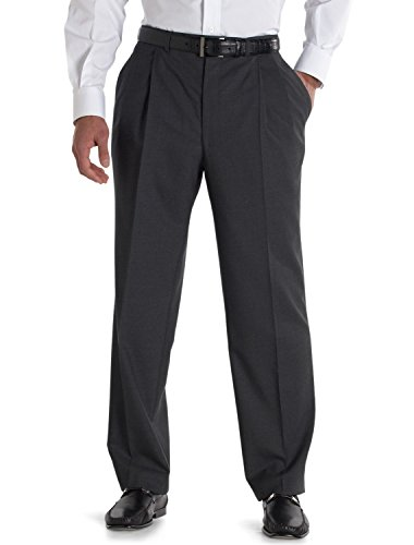 Jack Victor Big and Tall Plated Nanotex Pant, Charcoal 52R UNF