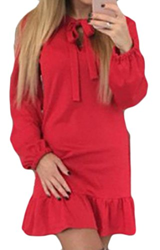 Novelty Women's Solid Colored Belted Party Dress Comfy Flouncing Red Mini qgnxpwCW