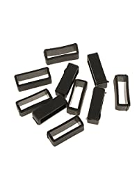 MonkeyJack 10pcs Black Watch Band Strap Replacement Rubber Strap Loops Holder 18-22mm - Black, 22mm