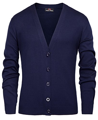 Blue Long Sleeve Sweater (PAUL JONES Men's Warm Soft Button Front Cotton Long Sleeve Cardigan Sweater Size M Navy Blue)