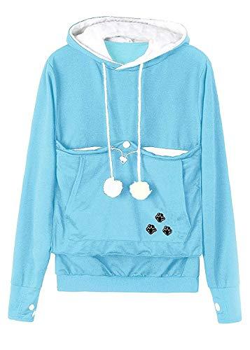 Womens Hooded Sweatshirt Cat Ear Big Kangaroo Pouch Pet Dog Holder Carrier,XXX-Large,Lightblue(Thin), -