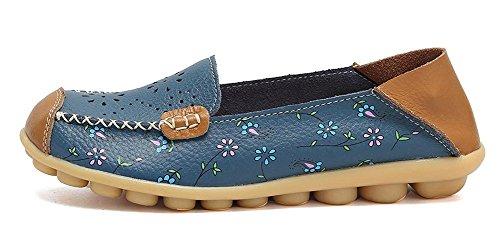 Cuero A Mujer Blue Loafers Zapatos Mocasines Zapatillas Casual De Oriskey TwqP6EP