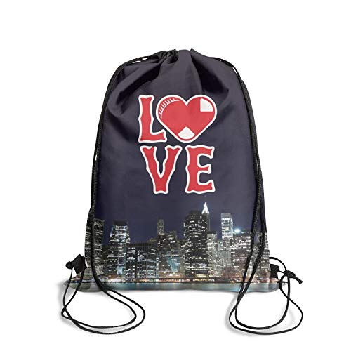 Drawstring Backpack I Love Red Baseball Champion Classic Adjustable Pouch Bag