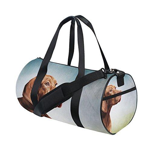 Unisex Vizsla Pointer Dog Portrait Gym Sport Team Issue Duffel Bag by Top Carpenter