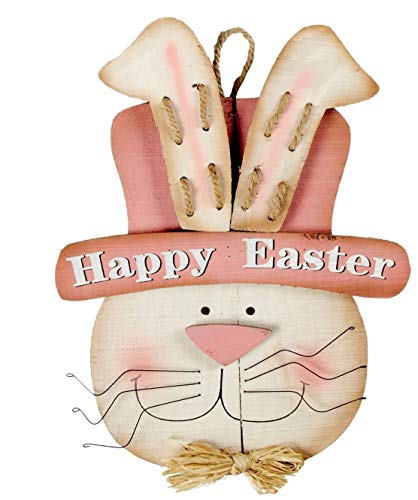Jumbo Wooden Easter Bunny Springtime Door Hanging Easter Decoration for Home or Office