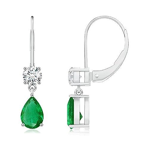Pear Shaped Emerald Leverback Drop Earrings for Women in 14K White Gold (6x4mm Emerald) - I1 Pear Earrings