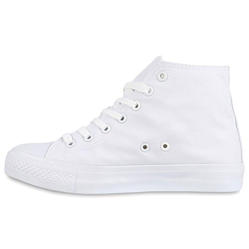 Damen Herren Unisex Sneaker High Schnürer Denim Sneakers Camouflage Sportschuhe Turnschuhe Glitzer Stoff Schuhe Übergrößen Flandell Weiss Weiss