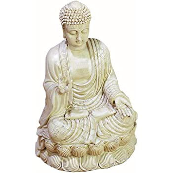 Deco 79 75188 Antique White Polystone Buddha Beautifully Carved, 12.75-Inch