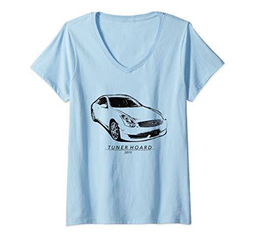 (Womens G35 JDM Drift Car T-shirt Fast 350GT Track & Street Race 350 V-Neck T-Shirt)