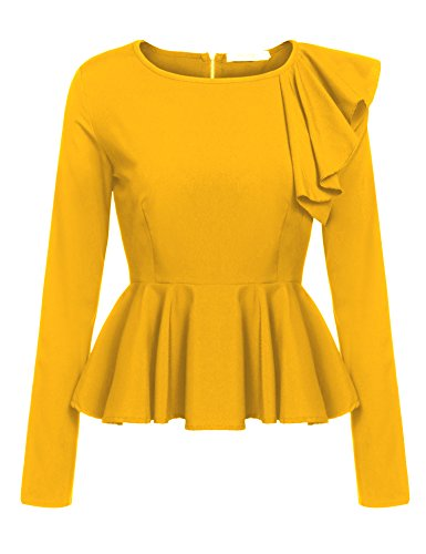 Meaneor Womens Ruffles Peplum Long Sleeve Dressy Blouse Tops, Yellow, XL
