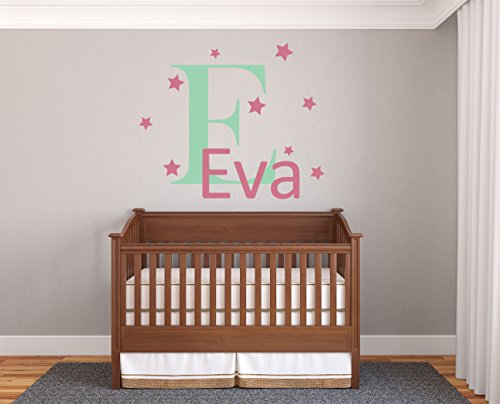 Custom Name & Initial Stars - Prime Series - Baby Girl - Nursery Wall Decal For Baby Room Decorations - Mural Wall Decal Sticker For Home Children's Bedroom (J203) (Wide 20