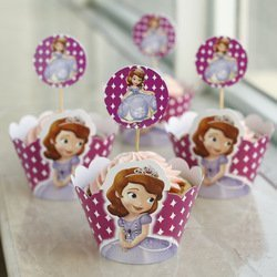 12 sets Sofia the first Cupcake toppers and wrappers decoration,Sofia the first Party (Sofia The First Party Decoration)