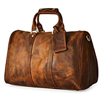 BRASS TACKS Leathercraft Mens Genuine Leather Utility Classic Doctor Duffel Weekend Work Bag w/Shoulder